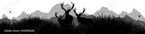 Panorama | Hirsche auf der Wiese