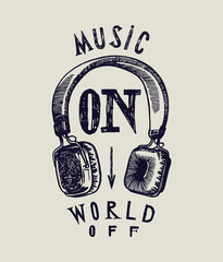 music on world off classic headphones grunge print