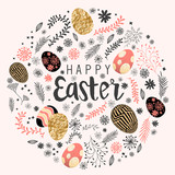 Happy easter decoration with floral elements and eggs. Vector illustration