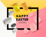 An abstract Easter Frame Design with 3D effects and room for promotion / holiday messages. Vector illustration - 140495259