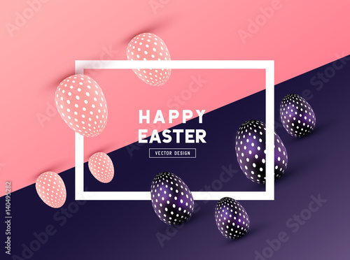 An abstract Easter Frame Design with 3D effects and room for promotion / holiday messages. Vector illustration - 140495282
