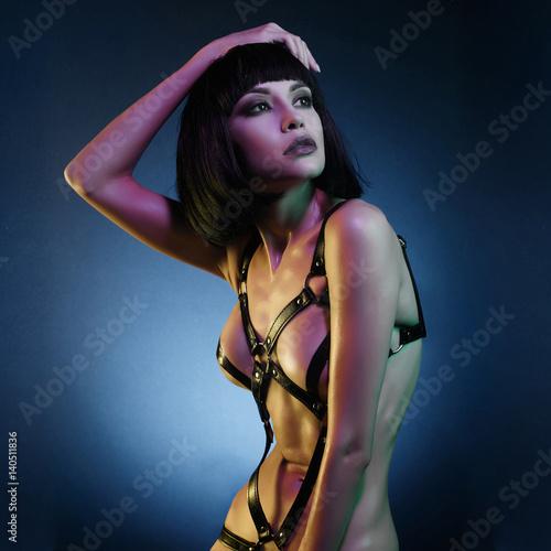 Fotobehang Women Art Beautiful nude body of sensuality elegant lady.