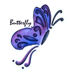 watercolor drawing of Blue butterfly on white background