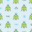 Seamless cute Prince Frogs pattern. Vector background for kids design.