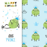 Happy Birthday card design with cute Prince Frog. Vector illustration.