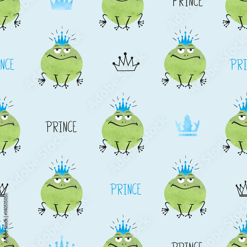 Cotton fabric Seamless cute Prince Frogs pattern. Vector background for kids design.