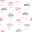Seamless watercolor clouds pattern. Rain of hearts. Vector illustration.