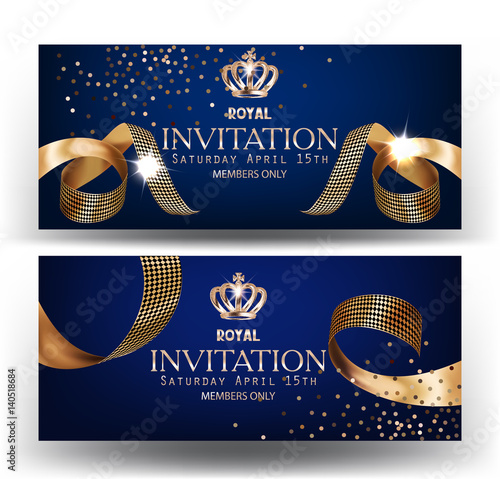 Royal Design Banners With Gold Curly Silk Ribbons And Blue