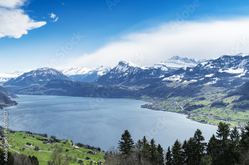 Lake lucerne top view Buergenstock Poster