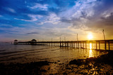 Wooded bridge to the sea between sunset at Koh Kood, Trat, Thailand