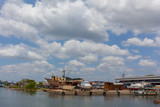 Cienfuegos. Old streets and rusty ships. Tropical island. Pier.