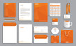 Business stationery set template, corporate identity design mock-up with orange polygonal pattern