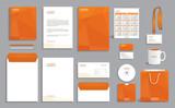 Business stationery set template, corporate identity design mock-up with orange polygonal pattern - 140524683
