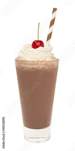 vanilla chocolate milkshake with whipped cream and cherry isolated