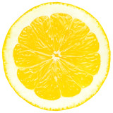 Fototapety Juicy yellow slice of lemon, white background, isolated