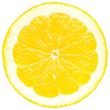 Juicy yellow slice of lemon, white background, isolated - 140529216