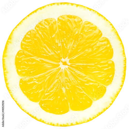 Juicy yellow slice of lemon, white background, isolated - 140529216