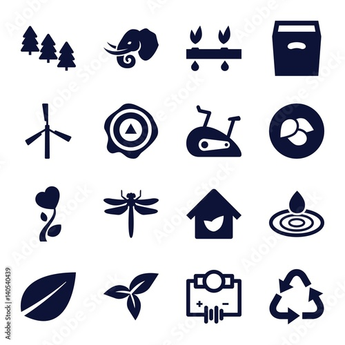Set of 16 environment filled icons
