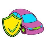 Car insurance icon cartoon