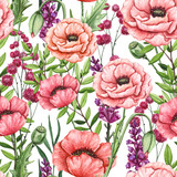 Seamless Pattern of Watercolor Flowers, Leaves and Poppies