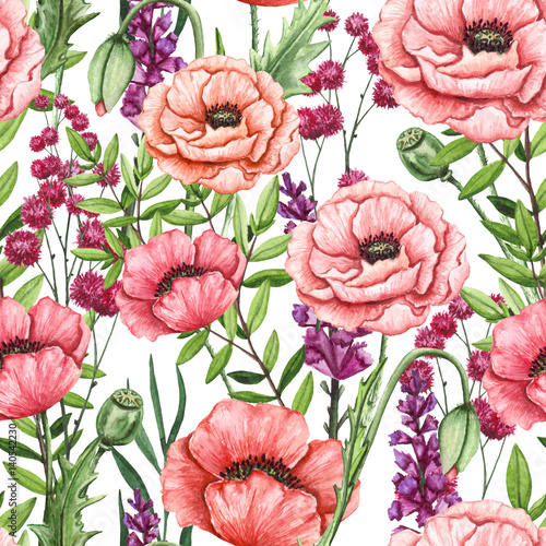 Seamless Pattern of Watercolor Flowers, Leaves and Poppies - 140542230