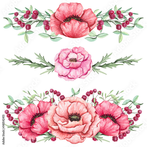 Watercolor Bouquets with Poppies and Green Leaves