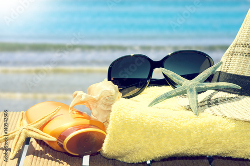 beach items to the tropical landscape, summer vacation