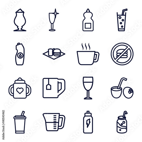 Set of 16 beverage outline icons