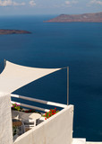 Beautiful balcony with sea view at Aegean sea, Greece