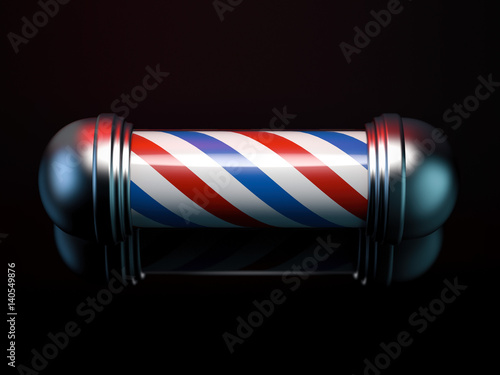 Spiral red and blue barber pole. 3d rendering