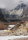 Yellow tent near peak Lobuche - Nepal