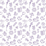 Seamless pattern for cute little boys and girls. Doodle children drawing background. Hand drawn children drawings