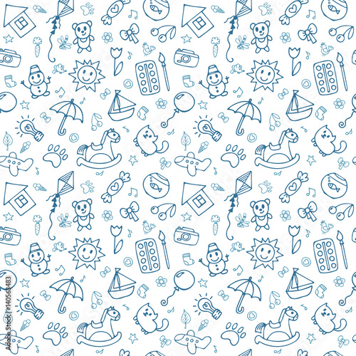 mata magnetyczna Seamless pattern for cute little boys and girls. Sketch style. Hand drawn children drawings. Doodle children drawing background
