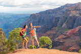 Hiking couple looking at view in mountain nature during hike in Waimea Canyon State Park, Kauai, Hawaii, USA. Caucasian man pointing at mountains for Asian woman, backpackers.