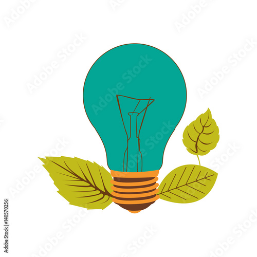 light bulb color turquoise and leaves vector illustration