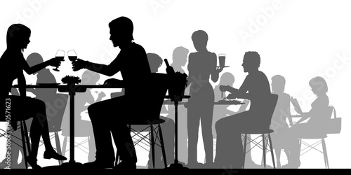 Busy restaurant silhouette