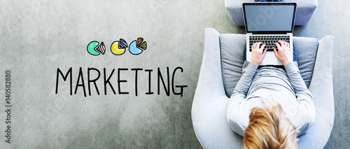 Marketing text with man using a laptop