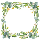 Watercolor wreath with silver dollar eucalyptus leaves and branches. - 140586298