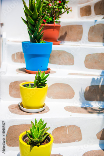 Traditional greek colorful flowerpots with flowers on steps on streets of old village in Greece