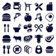 Set of 25 eat filled icons