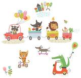 Funny animals. Cheerful walk