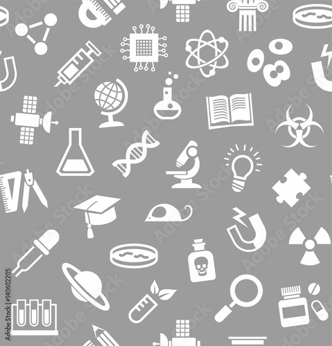 Science, background, seamless, gray, vector. White flat icons on a gray field. Different types of scientific activities. Monochrome background.