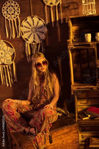 Plagát Young hippie woman