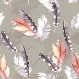 Feathers drawing. Watercolour seamless pattern.