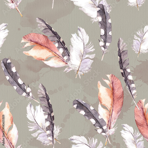 Feathers drawing. Watercolour seamless pattern. - 140605889