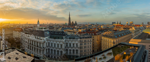 obraz lub plakat Vienna skyline panorama at sunset