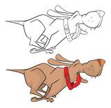 Illustration of a Cute Hunting Dog. Cartoon Character