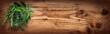Fresh spice herbs on rustic wood