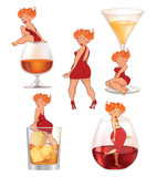 Set of Sexy Girls for you Design. Cartoon Character