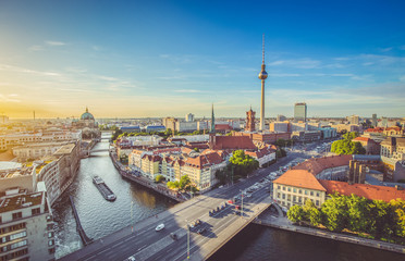 Berlin skyline with Spree river at sunset in summer, Germany